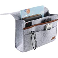 "ASSR Bedside Caddy with Extra Pockets, 9""x14"" Felt Bedside Caddy Storage Organizer Bed Caddy Under Mattress Holder Bag for Phone, Remote, Magzine, Glass, Pen"