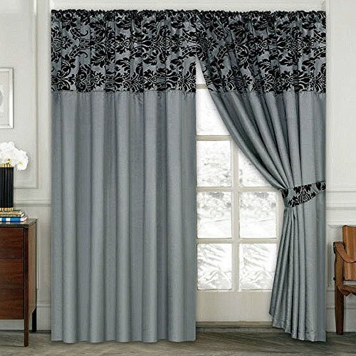 LUXURY Damask Curtains Pair Of Half Flock Pencil Pleat Window Curtain FusionTM