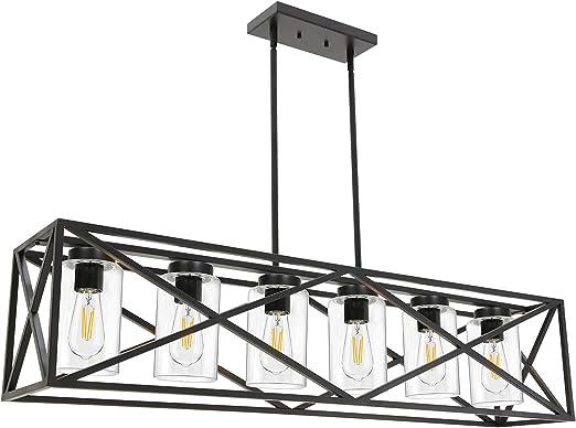 TODOLUZ 6-Lights Farmhouse Chandelier Black Dining Room Light Fixtures, 45.28
