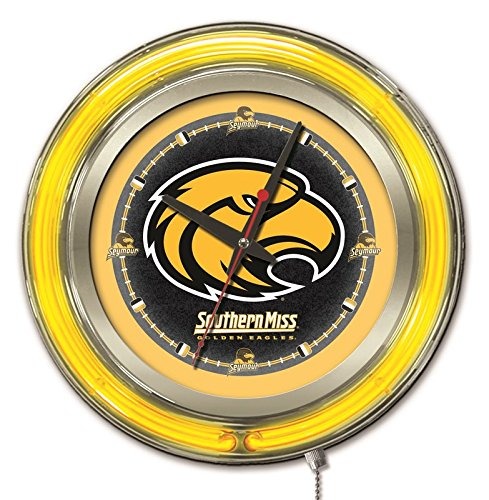 Southern Miss Golden Eagles HBS Neon Yellow Battery Powered Wall Clock (Eagle Neon Clock)