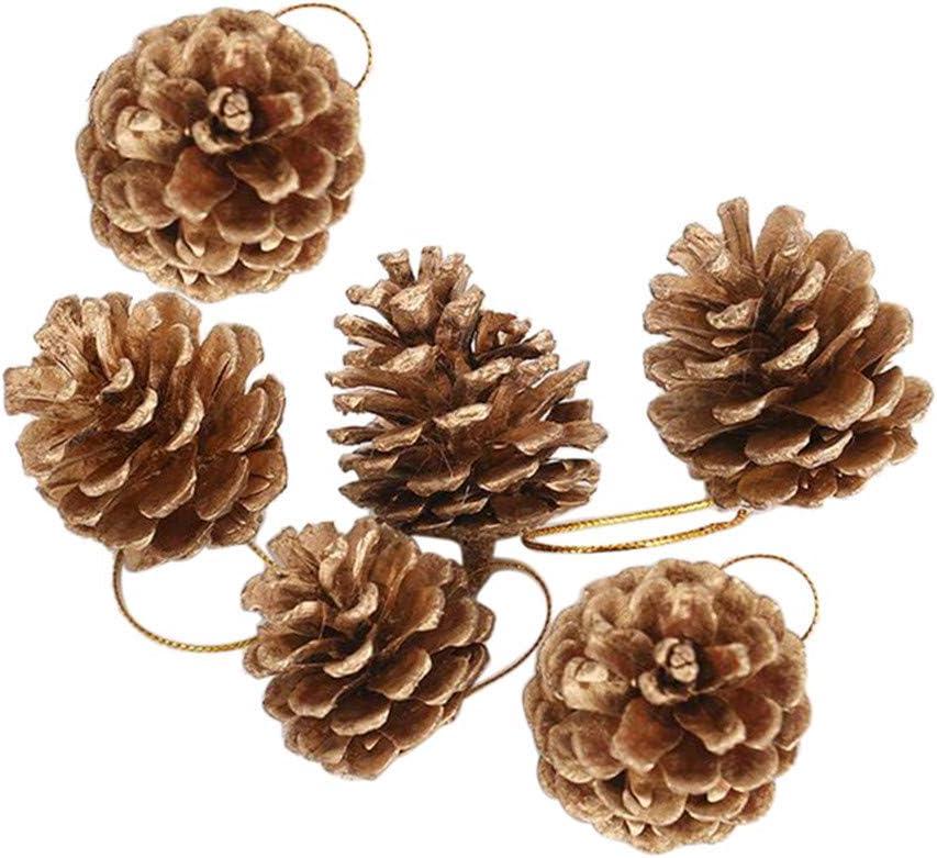 Brown Legno 6 Pezzi MA87/2019/New 24PCS di Natale pigne di Natale Albero di Natale Festa Appeso Decorazione Ornamento