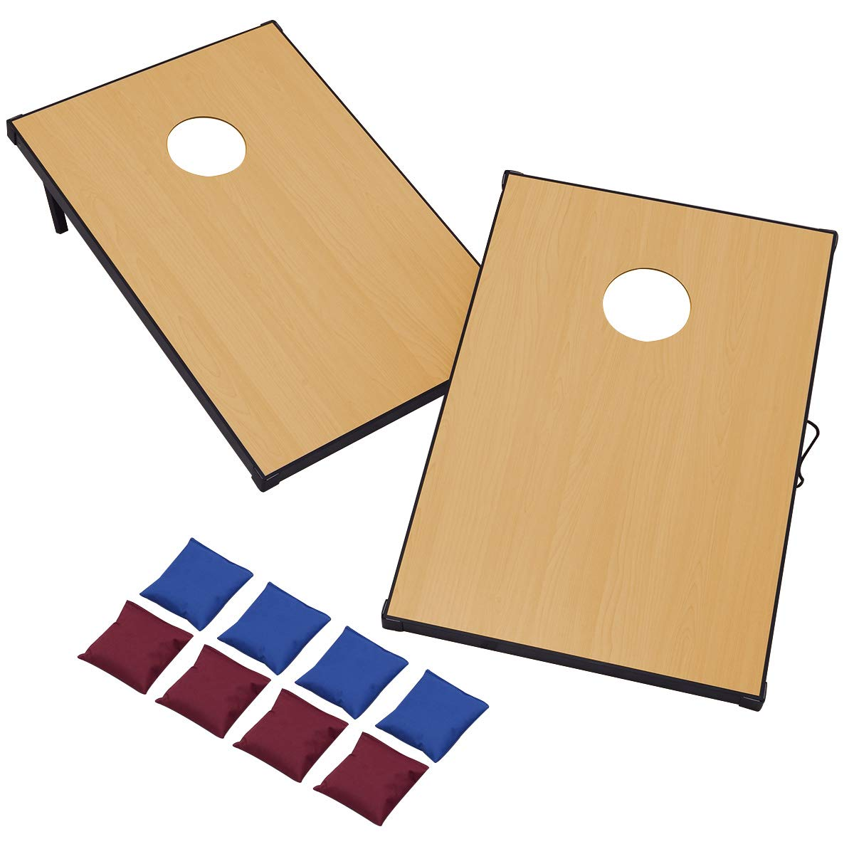 GYMAX Classic Cornhole Bean Bag Toss Game Set Portable with Solid Wood Corn Toss Boards and 8 Bean Bags (35.5'' x 23.5'' x 3'') by GYMAX (Image #1)