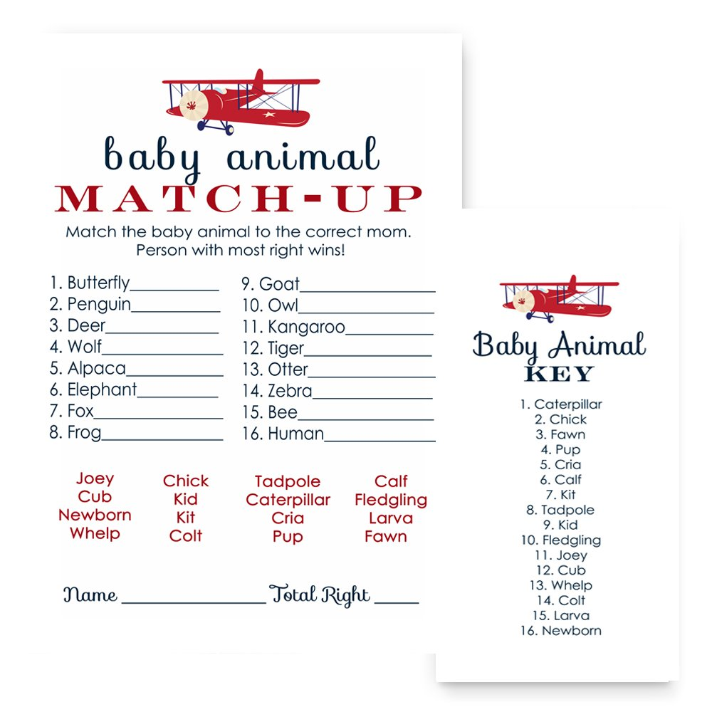 Airplane Animal Match Baby Shower Game Set of 25