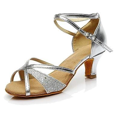 Chaussures de danse(Noir Argent Gris) -Non Talon Bottier-Similicuir-Moderne , silver , us7.5 / eu38 / uk5.5 / cn38