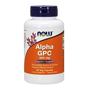 NOW Supplements, Alpha GPC 300 mg with Bioavailable Source of Choline, 60 Veg Capsules