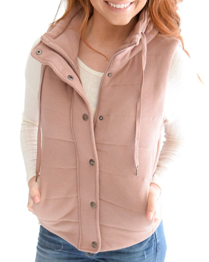 Kathemoi Womens Casual Quilted Puffer Vest Tops Utility Zip Drawstring Jacket Outerwear with Pockets
