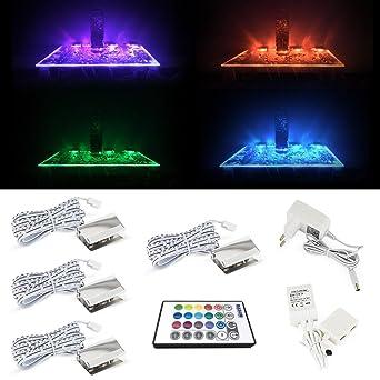 LED Glaskantenbeleuchtung RGB Farbwechsel Mit 4 Clips LED Beleuchtung Für  Glasregal , Unter Kabinett