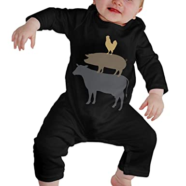 Soft Cow Pig Chicken Jumpsuit Long Sleeve Cotton Rompers for Baby Boys and Girls