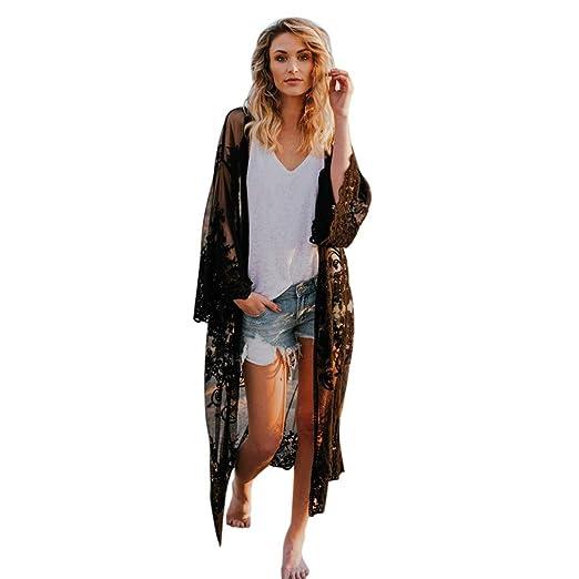 1661cb4bf Fanteecy Women's Sheer Lace Crochet Kimono Cardigan Long Blouse Loose Tops  Beachwear Beach Bikini Cover up