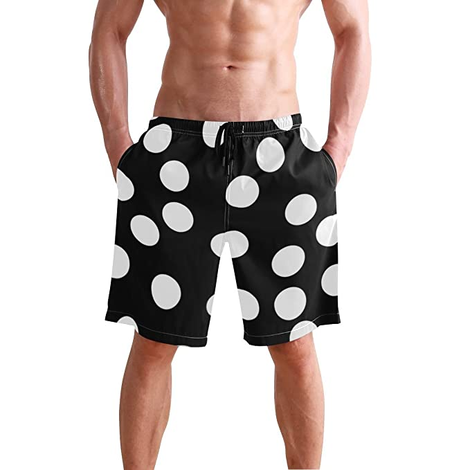 74856ca32b Image Unavailable. Image not available for. Color: JECERY Men's Swim Trunks  White Black Polka Dot ...