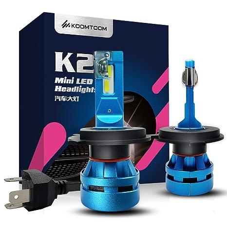 KOOMTOOM Mini Bombillas Led H4 Hi Lo Kits de luces delanteras, 9003 HB2 Bombillas para luces delanteras 5000K CREE Led ...