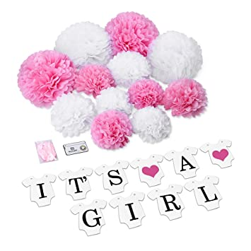 "Konsait ""ITS A GIRL"" guirnalda bunting decoración Papel Banner Banderines y Papel de"