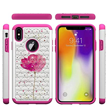iPhone XS Max Case,2 in 1 Hybrid Case Back Cover Hard PC with Colorful Pattern & Point Drill Inner Soft TPU Bumper Impact Resistant Case Compatible ...
