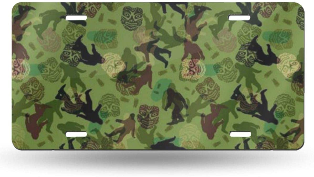 NGHFJSUY Bigfoot Camo License Plate Decorative Metal Card Personality 6 X 12 Aluminum Auto Car Bicycle Motorcycle Vanity Tag Auto Accessories Covers,License Plate