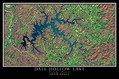 Dale Hollow Lake Kentucky - Tennessee From Space Satellite Poster Map