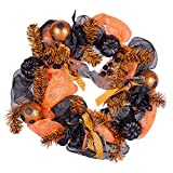 Transpac Imports Orange and Black Happy Halloween 24 inch Grapevine and Ribbon Wreath Decoration