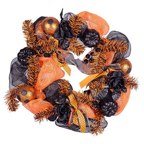 Transpac Imports Orange and Black Happy Halloween 24 inch Grapevine and Ribbon Wreath ()
