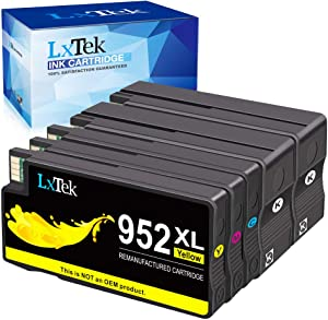 LxTek Remanufactured Ink Cartridge Replacement for HP 952 952XL to use with OfficeJet Pro 8710 8720 7720 8702 8210 8730 8216 8740 8715 8725 Printers (2 Black 1 Cyan 1 Magenta 1 Yellow) Updated Chips