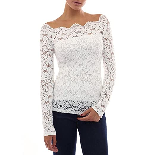 7ecbd843cfb Kangma Women Sexy Lace Long Sleeve Casual Loose Tops Ladies Shirt Blouse  White