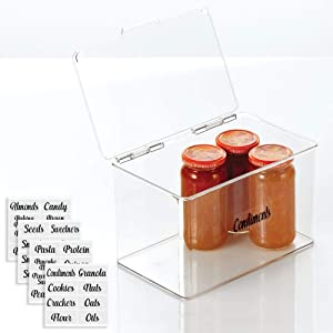 mDesign Plastic Stackable Kitchen Pantry Cabinet/Refrigerator Food Storage Container Box, Attached Lid - Organizer for Coffee, Tea, Packets, Snack Bars - Tall, Includes 32 Labels - Clear