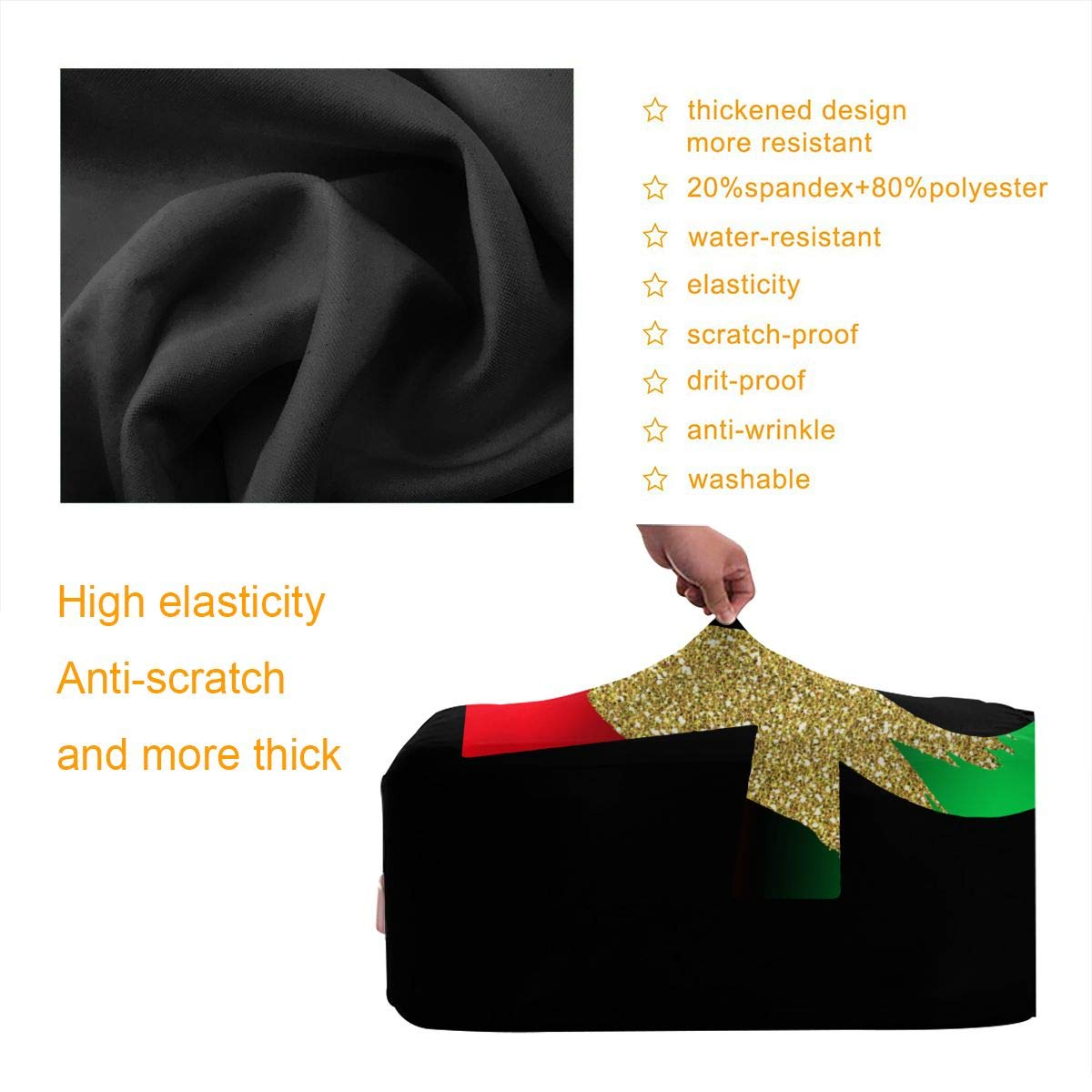 Egypt Red Black Green Ankh Glitter Travel Luggage Protector Suitcase Cover 18-32 Inch