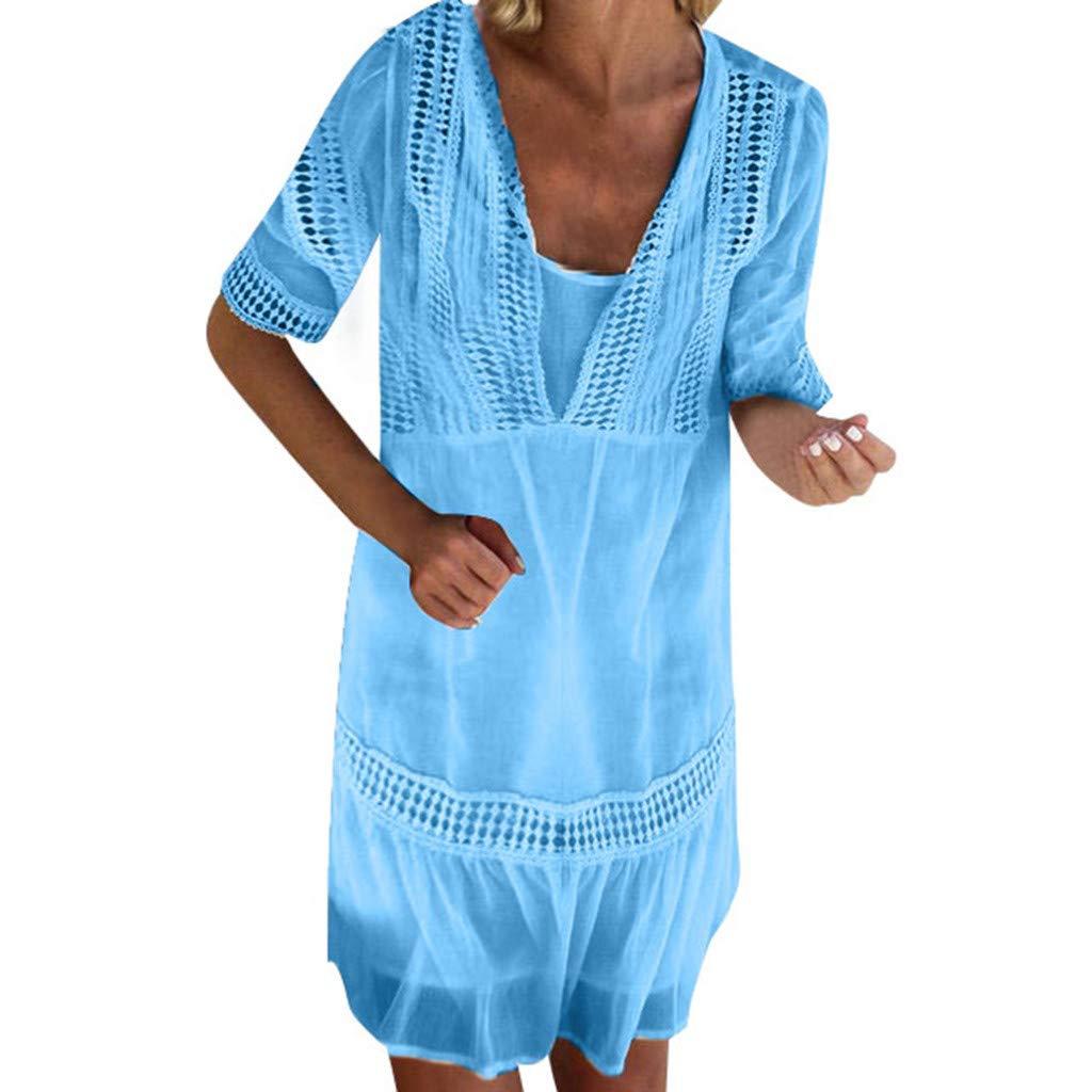 Sunday Damen Strandkleid Sommer Kleid Lässig Kleid Kurzarm Locker Sommerkleid Casual Spitzenkleid Kurz Partykleid Minikleid