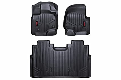 Rough Country M 51512 Heavy Duty Floor Mats Front Rear Combo Supercrew Cab Fits 2015 2019 Ford F150