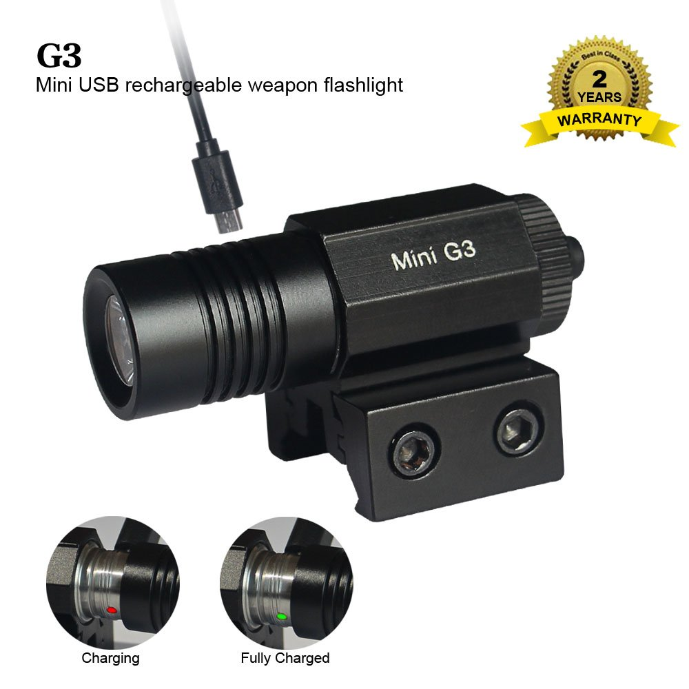 G3 Mini Weapon light USB rechargeable tactical light include 10180 li-ion battery pistol ligh,130 lumens 200 feet range,mount picatinny rails for Glock,Springfield, M&P pistol shotgun,war game airsoft