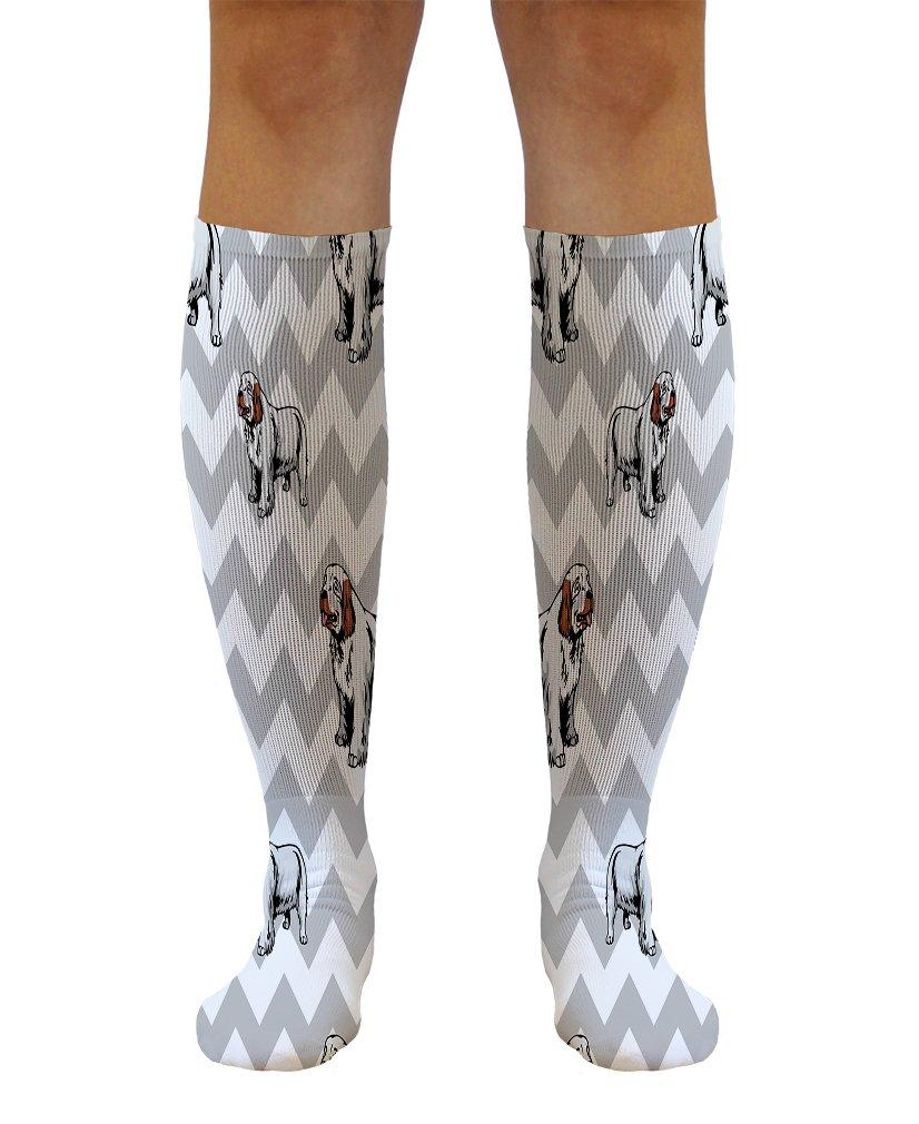 Funny Knee High Socks Clumber Spaniel Dog Gray Zigzag Tube Women & Men 1 Size 1