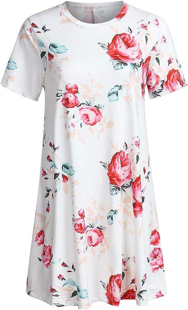 Dresses for Women Boho Frint Mini Dress Short Sleeve Casual Cocktail Party Baggy Swing Sundress