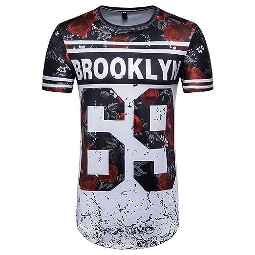 Camisetas, ❤ ⚽️Ba Zha Hei Número 69 de Verano Casual Camisas De Hombre
