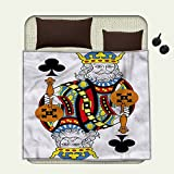 smallbeefly King waterproof blanket King of Clubs Playing Gambling Poker Card Game Leisure Theme without Frame Artworkplush blanket Multicolor