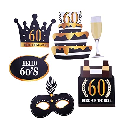 Amazon.com: BESTOYARD 24pcs 60th Birthday Photo Booth Props ...
