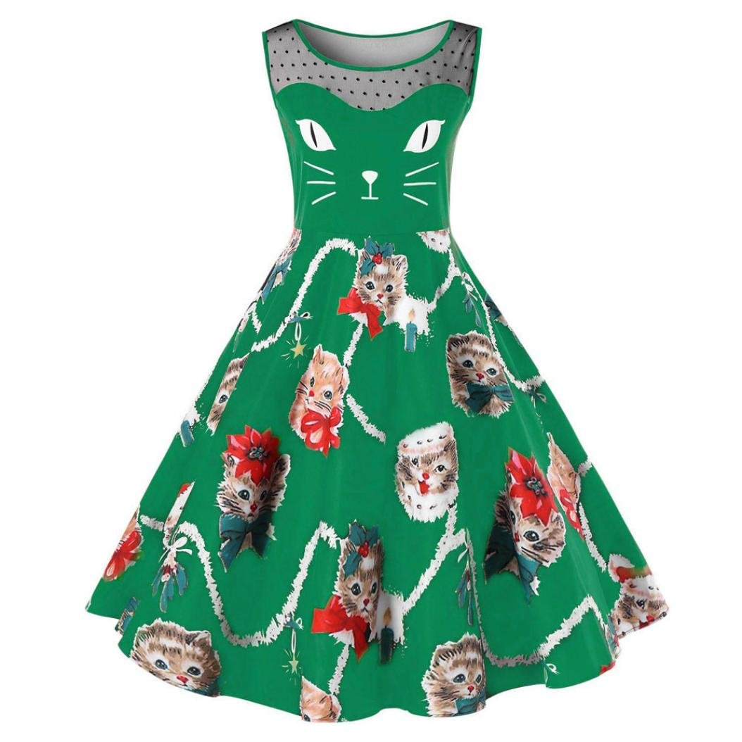 LHWY Kleid Damen Elegant, Frauen Womens Cat Sleeveless Druck Kleid Rundhals Damen Vintage Swing Cute Lace Sommerkleid für Jugendliche Mädchen Dating Party Bekleidung