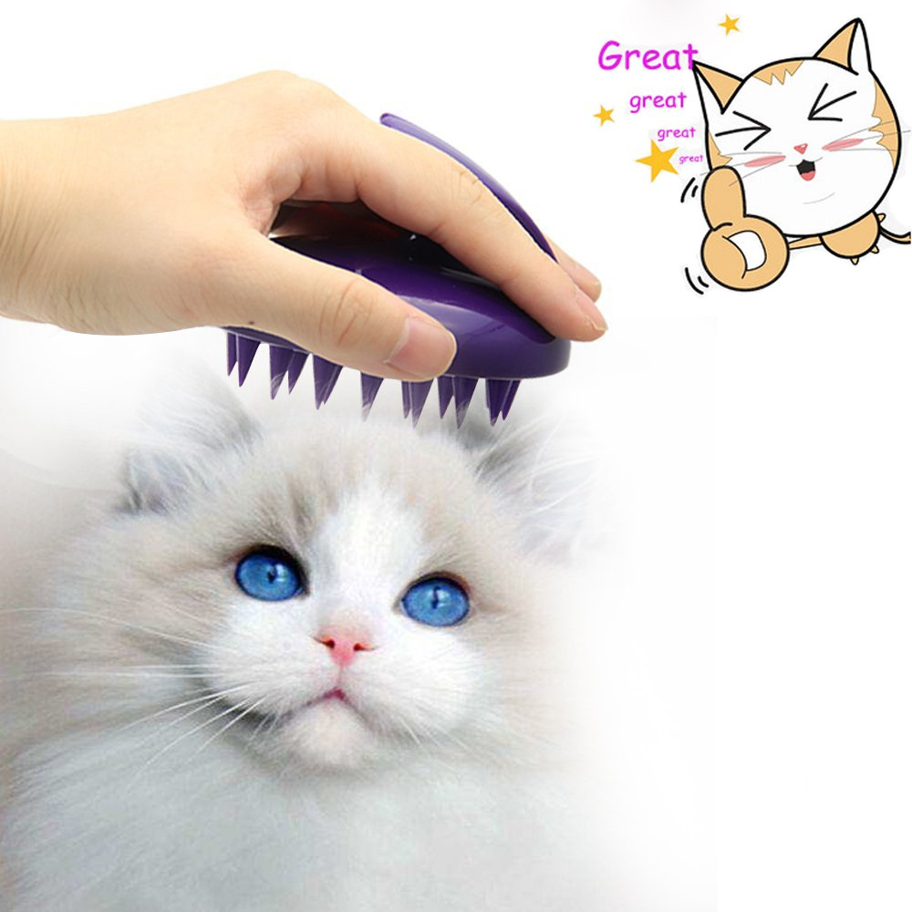 Boxalls Profesional Silicone CAT Dog Grooming, Massage Brush (Purple)