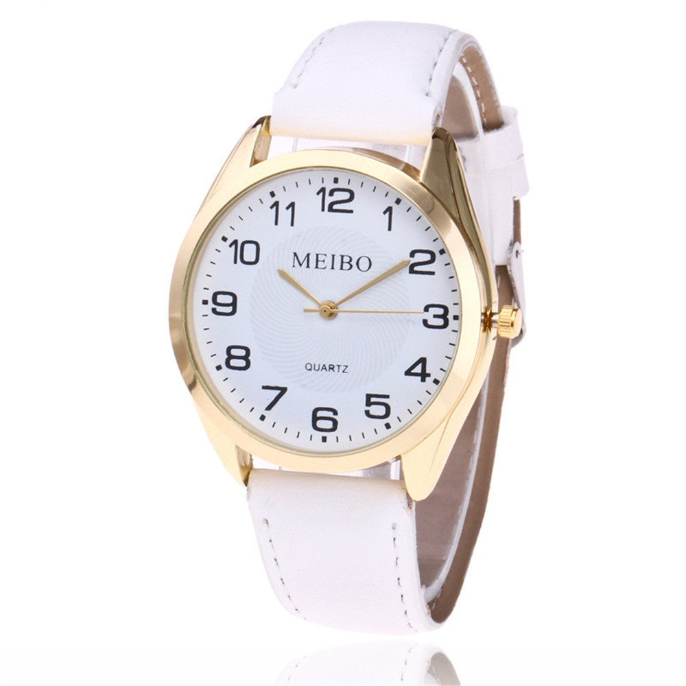 Loweryeah Men and Women Pu Leather Quartz Watch Simple Dial