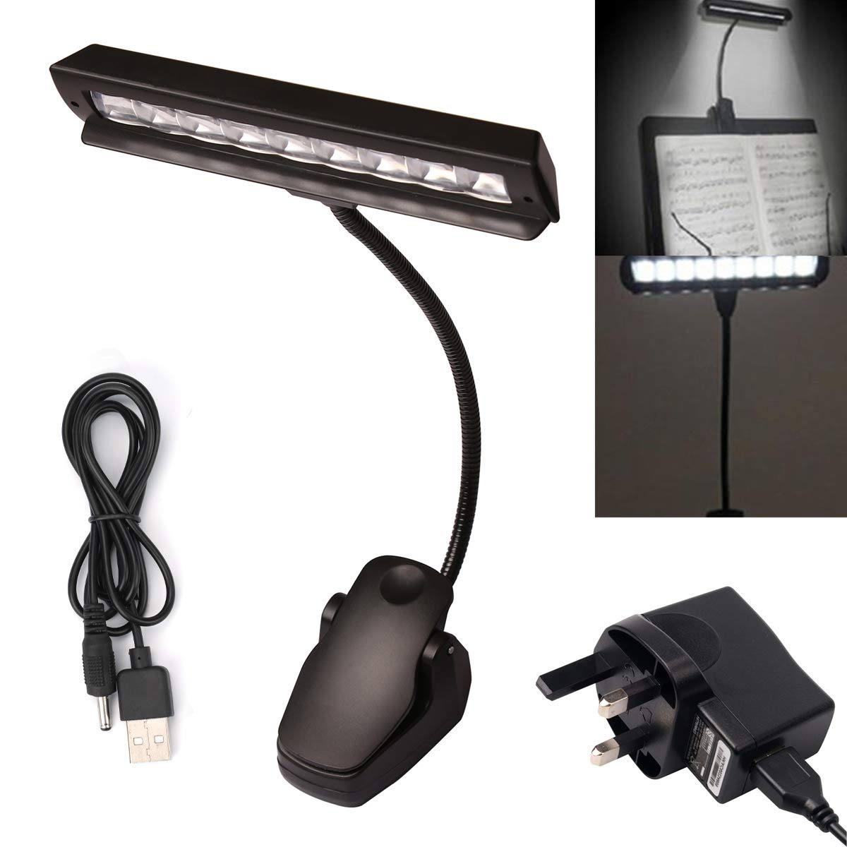 9 LED Clip-on Light Flexible Music Stand Reading Light Bed Table Desk Lamp Black