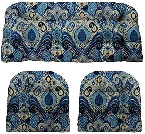 RSH D cor Indoor Outdoor Large Tufted Wicker 3 Piece Cushion Set Made with Blue Lapis Passage Boho Paisley Fabric – Choose Size Color