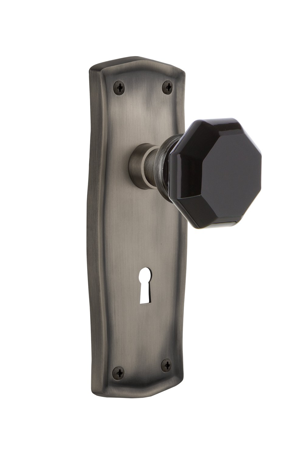 Nostalgic Warehouse 725923 Prairie Plate with Keyhole Privacy Waldorf Black Door Knob in Polished Brass 2.375