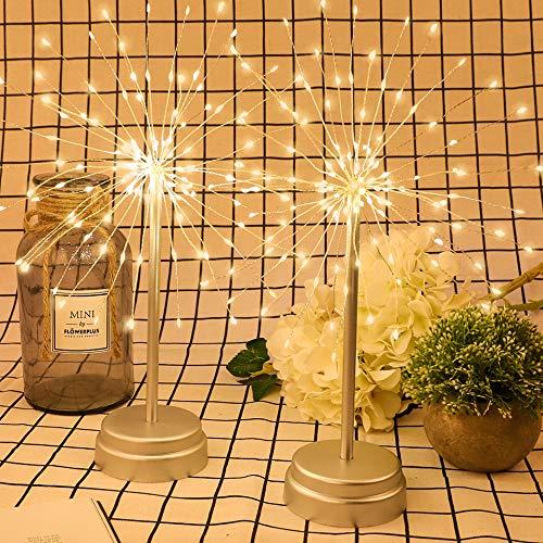 (Whonline 2pack 180 LED Firework Copper String Lights Starburst Lights Dandelion String Lights Bouquet Shape Fairy Lights for Home Party Wedding Decoration (Warm White))