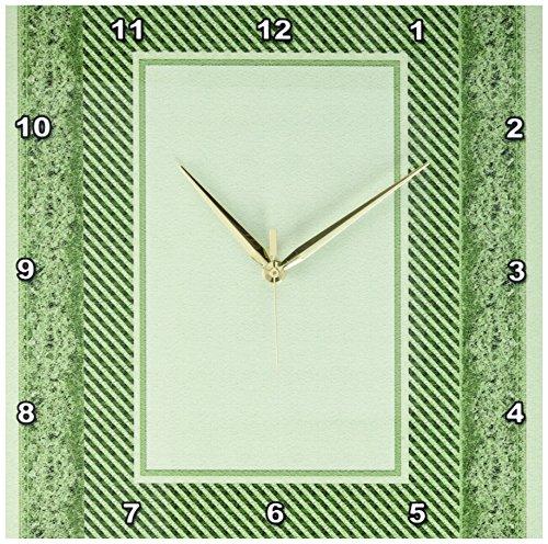 3dRose DPP_33416_2 Sage Green Striped & Damask Ribbon Frame Wall Clock, 13 by 13
