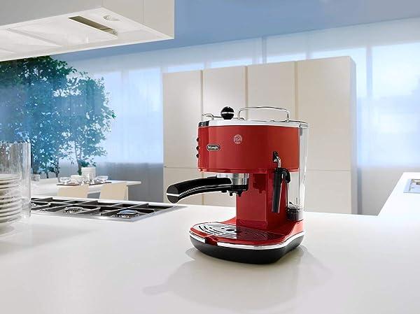 DeLonghi Icona Vintage-Design Frühstücksserie bestehend aus: Espressomaschine, Wasserkocher und Toaster in gleicher Farbe