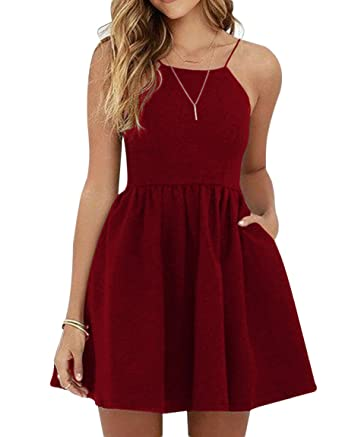 8fcc5ec988 ScelleBridal Short Homecoming Dresses Backless Skater Dresses with  Pocket124 Burgundy 2
