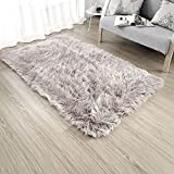 OJIA Deluxe Soft Modern Faux Sheepskin Shaggy Area Rugs Children Play Carpet For Living & Bedroom Sofa (3ft x 5ft, Light Coffee)