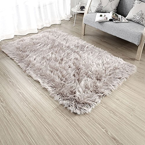 (OJIA Deluxe Soft Modern Faux Sheepskin Shaggy Area Rugs Children Play Carpet for Living & Bedroom Sofa (3 x 5ft, Light)