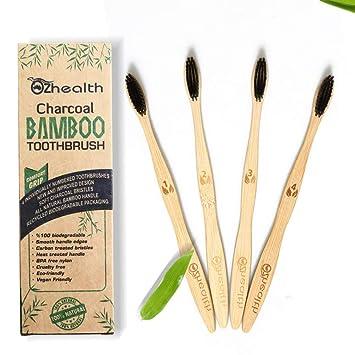 Nubeter Cepillos de dientes de bambú | Paquete de 4 | Ecológico ...