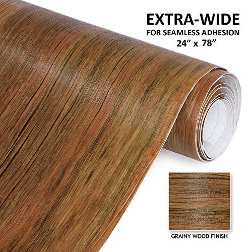 Wood Grain Adhesive Film - Economical Alternative to Rehabilitate your Countertops, Backsplash and Cabinets - - Fix Wood Veneer