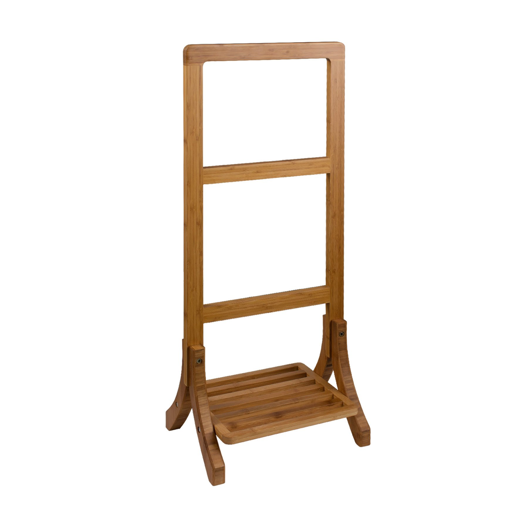 MAYKKE Griffith Natural Bamboo Standing Towel Rack   40'' Tall Contemporary Hanging Towel Clothes Stand with Shelf   Sustainable Bathroom Spa Multifunction Freestanding Storage Valet   NHA1120101