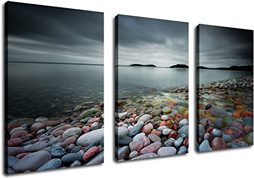 yearainn Canvas Wall Art Lake Artwork Nature Picture 20 x 30 x 3 Pieces Wall Decor Contemporary Painting Prints Colorful Stones on Beach Grey Blue Water Clouds Sky Islands for Home Decoration