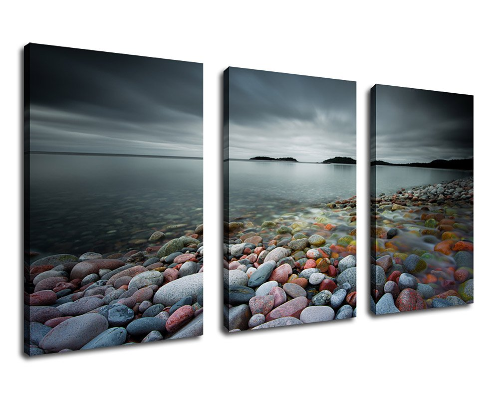 Canvas Wall Art Lake Canvas Artwork Nature Pictures - 20'' x 30'' x 3 Pieces Wall Art Decor Contemporary Painting Prints Colorful Stones on Beach Grey Blue Water Clouds Sky Islands for Home Decoration